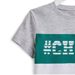 InExtenso CHILL Green and Grey Block Tshirt 1477