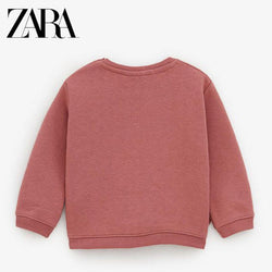 Zara Coral Pink With Bottom Sided Bows Sweatshirt 933