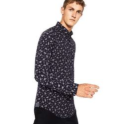 Zara Man Long Sleeve Floral Print Shirt  Navy Blue