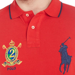 Ralph Lauren Men Big Pony Red Polo Navy Blue Stripe
