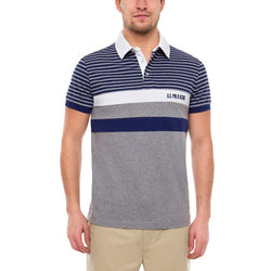 US Polo Assn Striped Polo Shirt Grey
