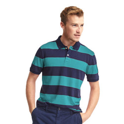GAP Rugby Blue And Teal Stripe Pique Polo Shirt (Label Removed)