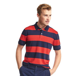 GAP Rugby Orange And Blue Stripe Pique Polo Shirt (Label Removed)