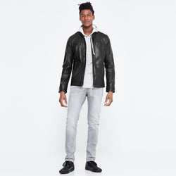 Celio Black Biker Jacket With Front Pocket