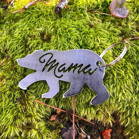 Mama Bear Key Chain made from Rustic Recycled Steel