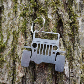 Jeep Key Chain made from Rustic Raw Recycled Steel