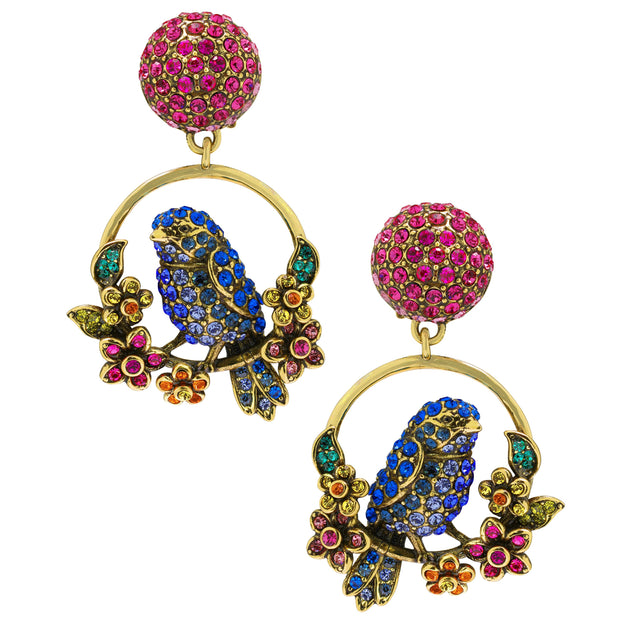 """On A Lark"" Crystal Bird Earings"
