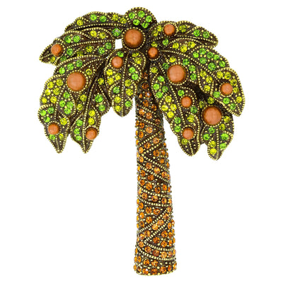 """Queen Palm"" Crystal Tropical Palm Tree Pin"