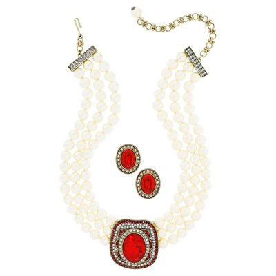 """Crystal Magnetism"" Triple Strand Necklace and Earring Set - Heidi Daus®"
