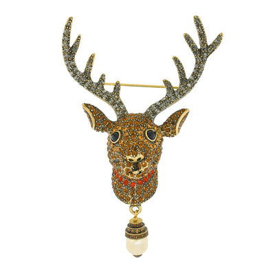 """Rudy"" Crystal and Pearl Reindeer Pin"