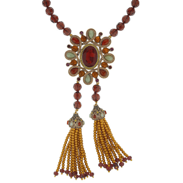 "HEIDI DAUS® ""Unmistakable Panache"" Beaded Tassel Drop Statement Necklace - Heidi Daus®"