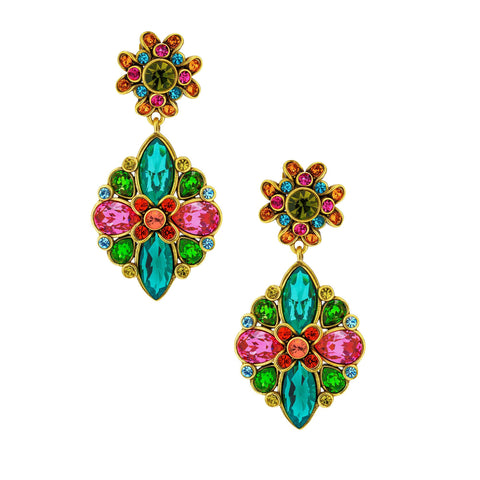 """Artful Aristocrat"" Crystal Drop Floral Earrings"