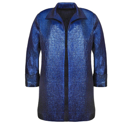 "Heidi Daus® ""Daybreak Metallic"" Navy Blue Jacket"