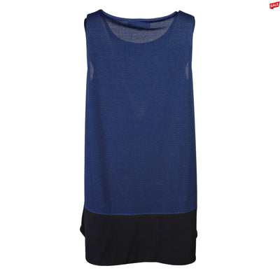 "Heidi Daus® ""Sleeveless Essentials"" Black on Navy High-Low Tank"