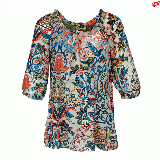 HEIDI DAUS® Côte d'Azur Off the Shoulder Velvet Paisley Blouse - Heidi Daus®
