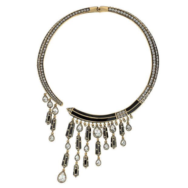 """It's Raining Gems"" Enamel & Crystal Collar Necklace - Heidi Daus®"
