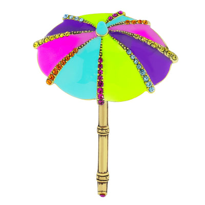 """Summer Shade"" Enamel Crystal Umbrella Pin"