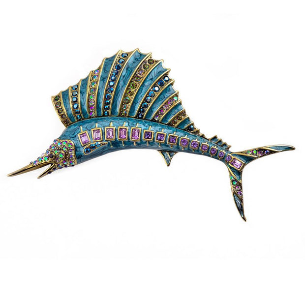 """Hooked On You"" Enamel & Crystal Fish Pin - Heidi Daus®"