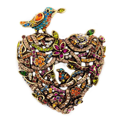 """Love Nest"" Swarovski Bird Pin - Heidi Daus®"