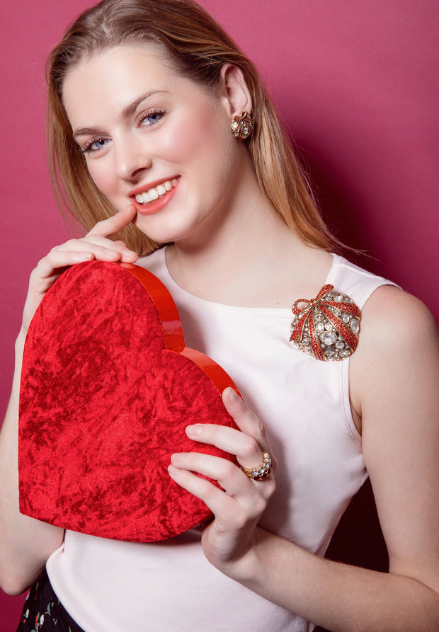 "HEIDI DAUS®""Wrapped Up Heart"" Crystal Earring & Pin Heart Pin - Heidi Daus®"