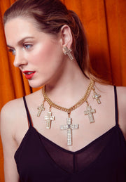 "HEIDI DAUS®""Sheer Heaven"" Chain Crystal Toggle Cross Necklace - Heidi Daus®"