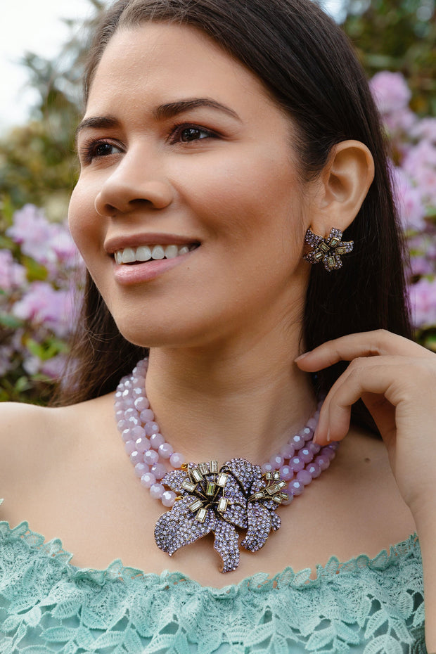 """Lovely Lily"" Crystal Beaded Floral Necklace - Heidi Daus®"
