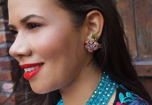 "HEIDI DAUS®""Pretty Polly"" Crystal Button Flower Earrings - Heidi Daus®"