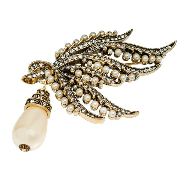 """A Touch of Class"" Pearl and Crystal Drop Pin - Heidi Daus®"