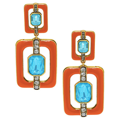 """Thoroughly Modern"" Crystal Deco Drop Earrings"