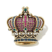 """Her Majesty"" Crystal Beaded Crown Pin - Heidi Daus®"