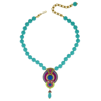 """La Conquista Brilla"" Beaded Enamel Resin & Crystal Deco Necklace"