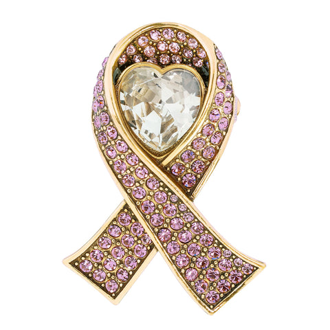 """Sparkle Strong"" Crystal Heart Ribbon Pin"