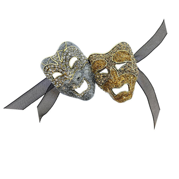 """A Lot Of Drama"" Crystal Enamel Maskarade Pin - Heidi Daus®"
