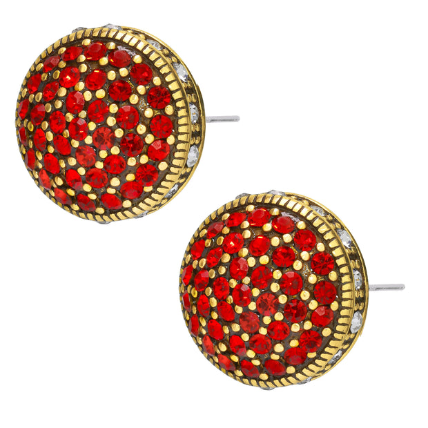 """Belgium Disc"" Mini Crystal Button Earring - Heidi Daus®"