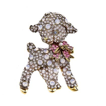 """Mairzy Doats"" Crystal Little Lamb Pin"