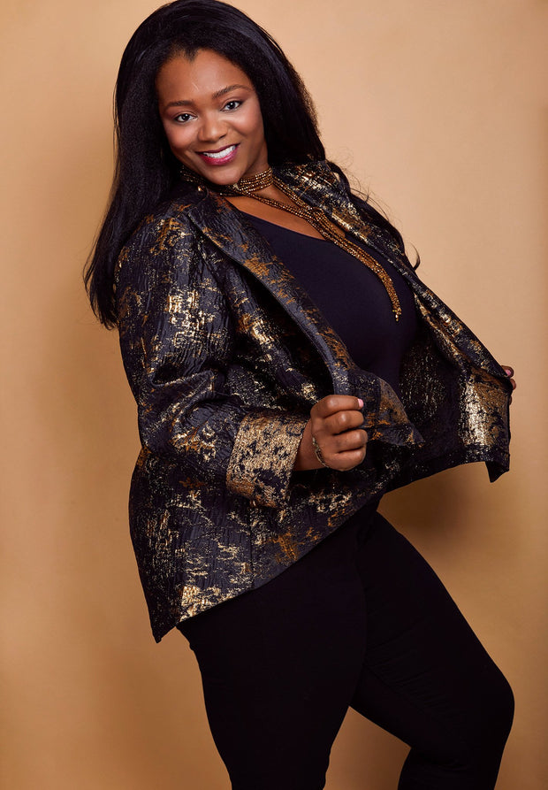"Heidi Daus® ""Abstract Expression"" Asymmetrical Black and Gold Brocade Jacket - Heidi Daus®"