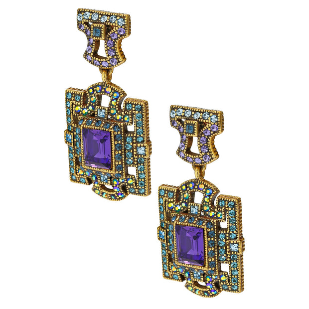 "HEIDI DAUS® ""Deco Windowpane"" Crystal Drop Earrings - Heidi Daus®"