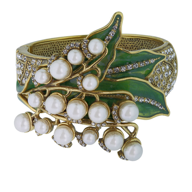 "HEIDI DAUS®""Lily Of The Valley"" Beaded Enamel Crystal Flower Bracelet - Heidi Daus®"