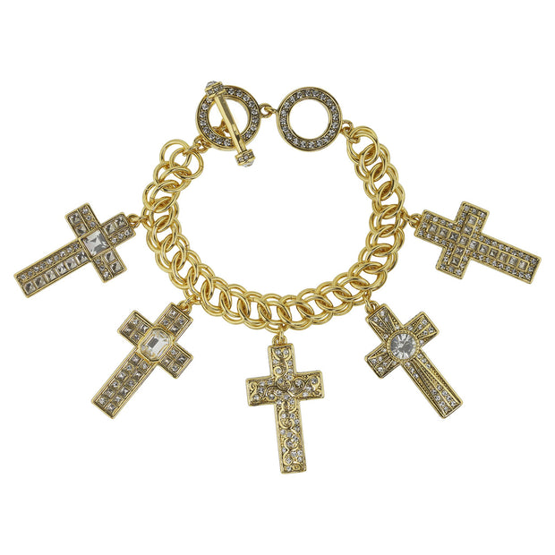 "HEIDI DAUS®""Sheer Heaven"" Chain Crystal Toggle Cross Bracelet - Heidi Daus®"