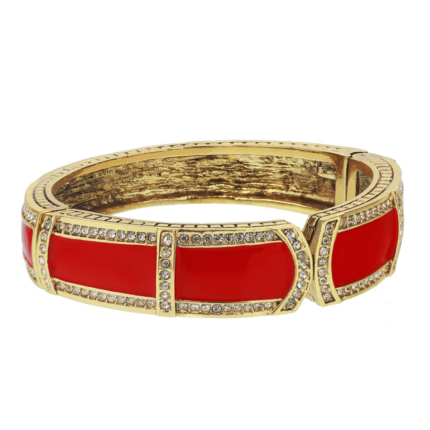 """Bar Harbor Elegance"" Enamel & Crystal Bangle Bracelet - Heidi Daus®"