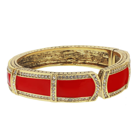 """Bar Harbor Elegance"" Enamel & Crystal Bangle Bracelet"