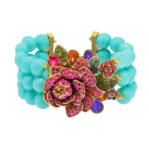 """Radiant Rose"" Crystal Floral Toggle Bracelet"