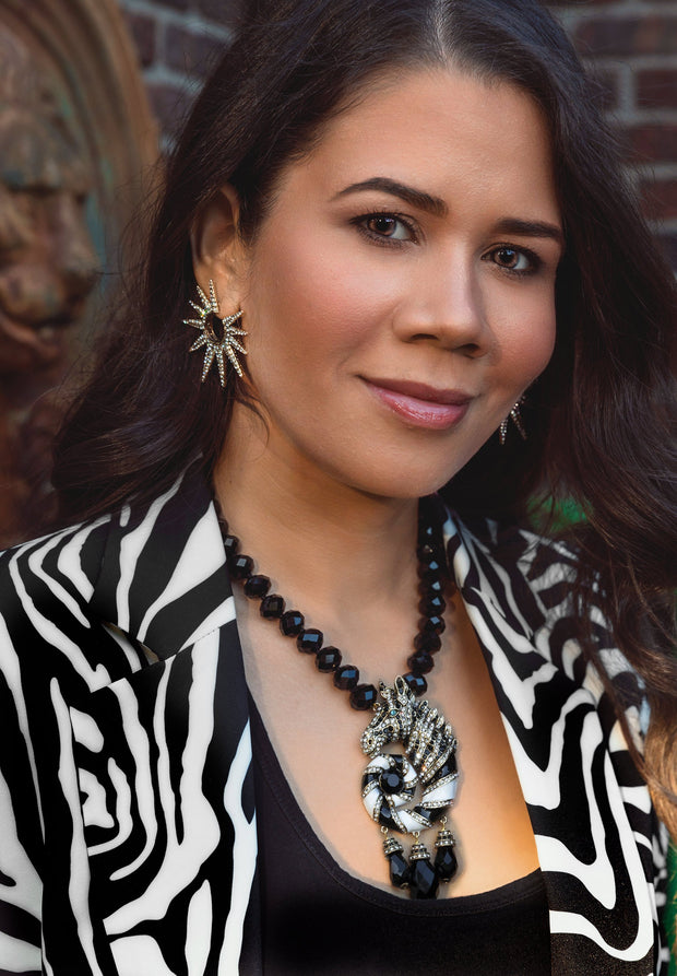 """Sparkling Safari"" Enamel Crystal Beaded Zebra Necklace - Heidi Daus®"