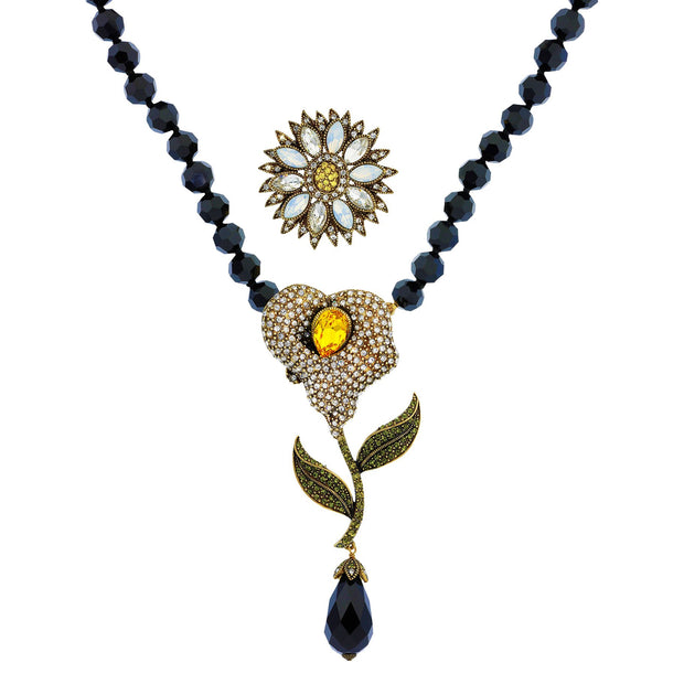 """Petal Perfection"" Crystal Interchangeable Floral Necklace Set - Heidi Daus®"