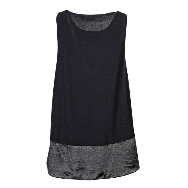 "HEIDI DAUS® ""Sleeveless Essentials"" Black on Black High-Low Tank - Heidi Daus®"