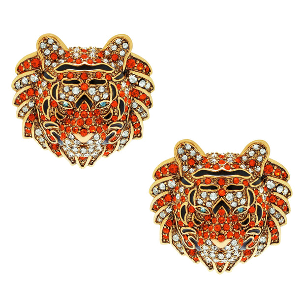 """Creative Camouflage""  Enamel & Crystal Tiger Earrings"