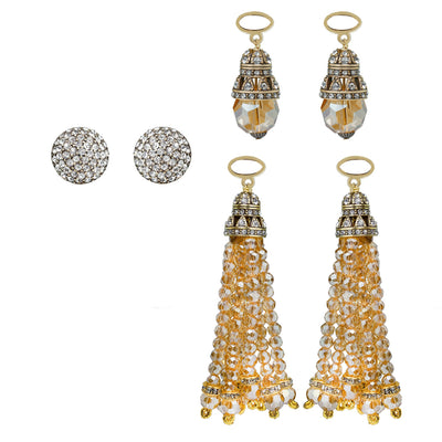 "HEIDI DAUS®""Endless Possibilities"" Beaded Crystal Tassel interchangeable Earring Set - Heidi Daus®"
