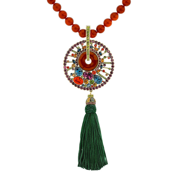 """Good Fortune"" Beaded Resin Crystal Tassel Necklace"