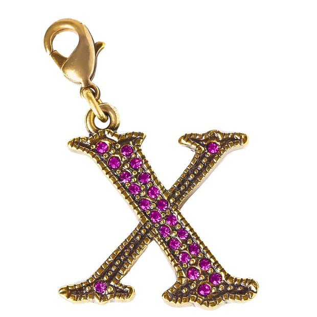 "Initial ""X"" Crystal Charm"
