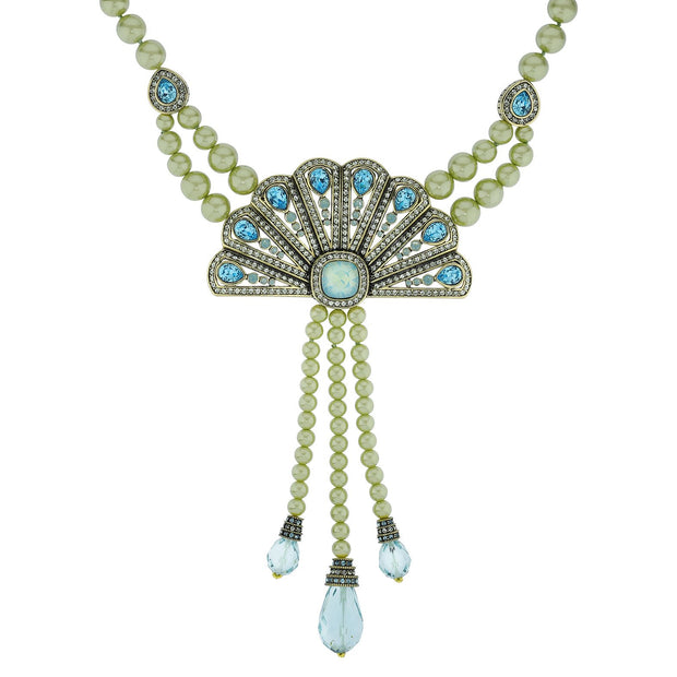 """Fan Fatale"" Pearl Art Deco Drop Necklace"